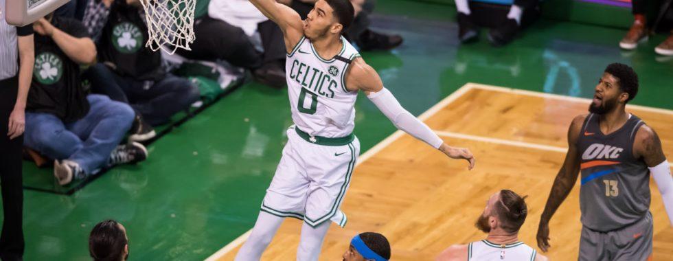 Boston Celtics Basketball Player Dunking